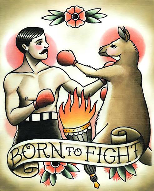 Traiditonal Born To Fight Tattoo Design