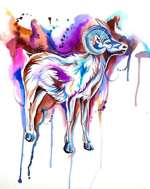 Watercolor Sheep Tattoo Design