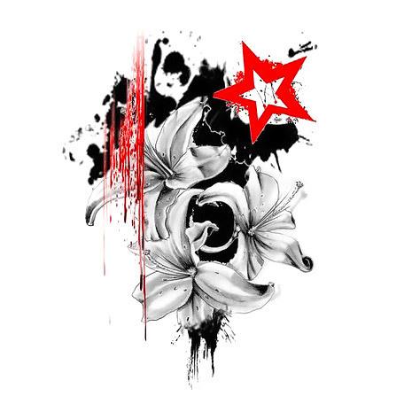 Trash Polka Lily Flowers Tattoo Design