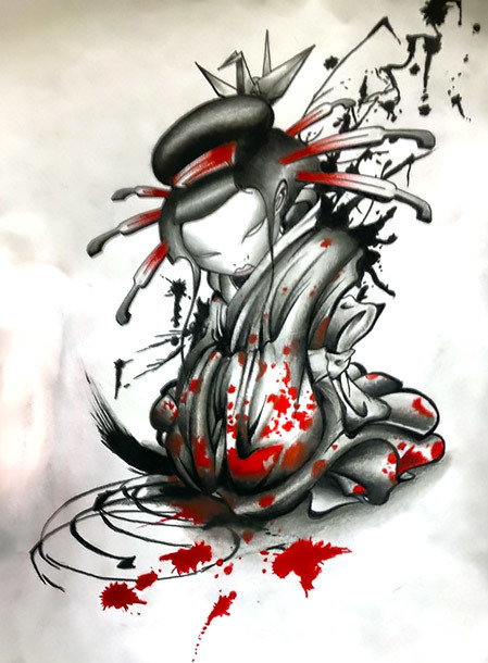 Trash Polka Geisha Tattoo Design