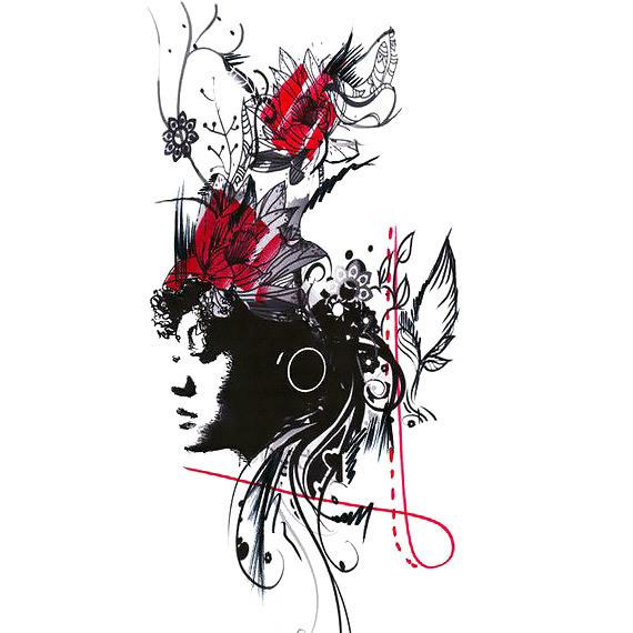 Trash Polka Girl Tattoo Design