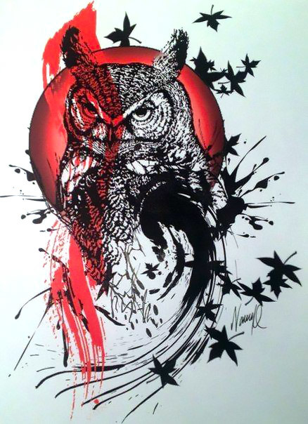 Trash Polka Owl Tattoo Design