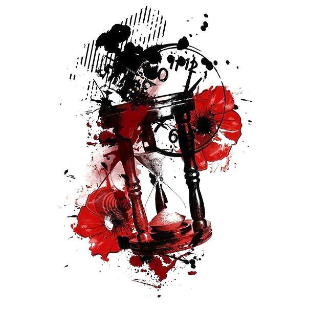 Trash Polka Hourglass Tattoo Design