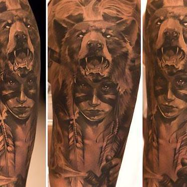 Bear Headdress Girl Tattoo