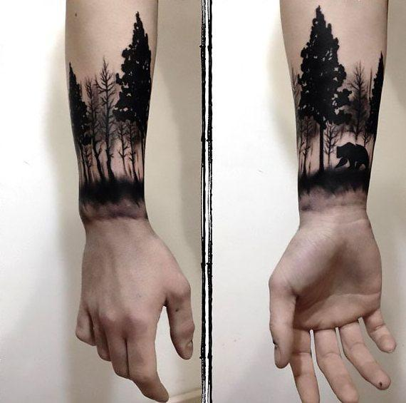 Bear in Forest Tattoo Idea