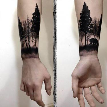 Bear in Forest Tattoo