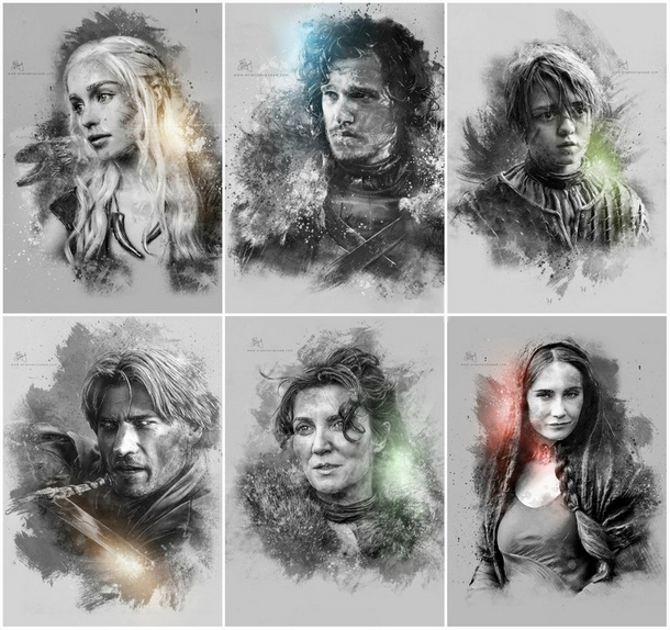 Game of Thrones Characters Portraits Tattoo Design