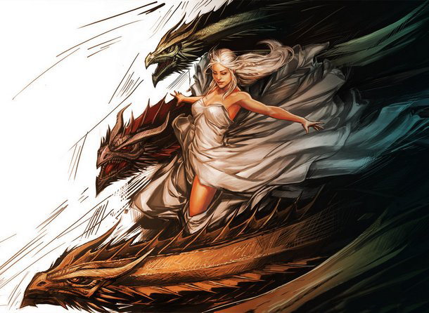 Amazing Daenerys with Dragons Tattoo Design