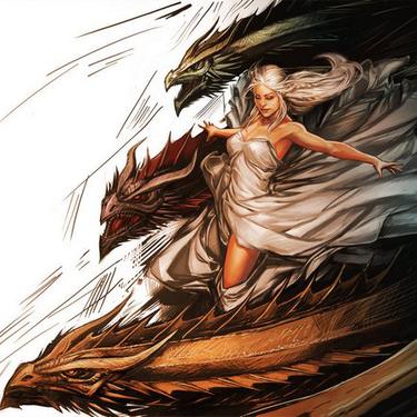 Amazing Daenerys with Dragons Tattoo