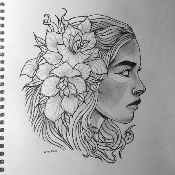 Daenerys with Flowers Tattoo Design