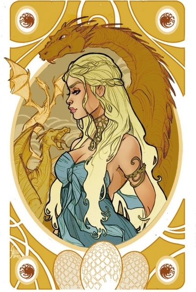 Gorgeous Golden Daenerys Tattoo Design