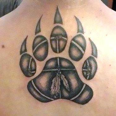 Bear Paw Print With Claws Tattoo
