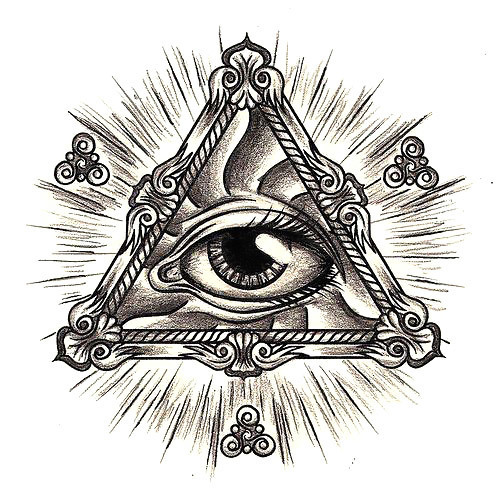 All Seeing Eye In Triangle Tattoo Design