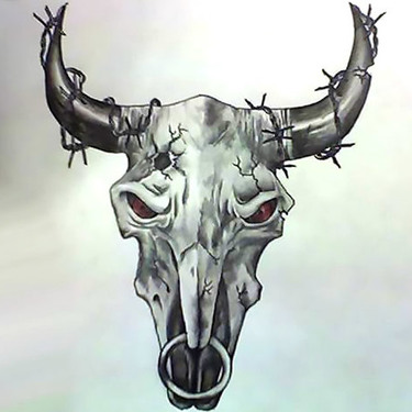 Amazing Bull Skull Tattoo