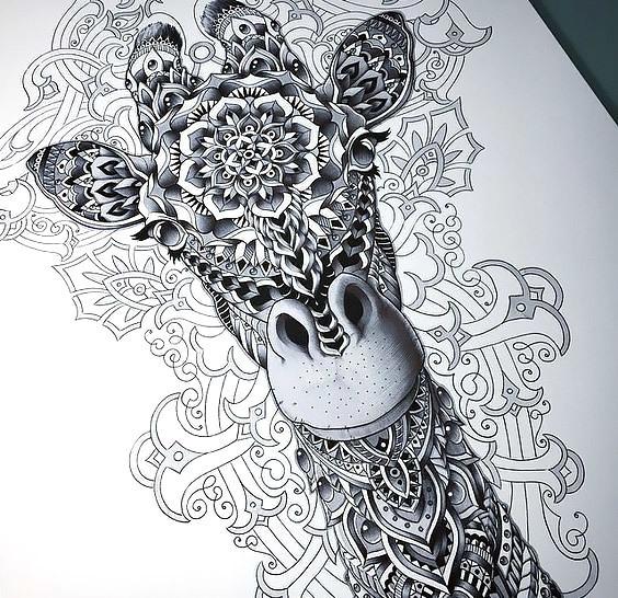 Amazing Pattern Giraffe Tattoo Design