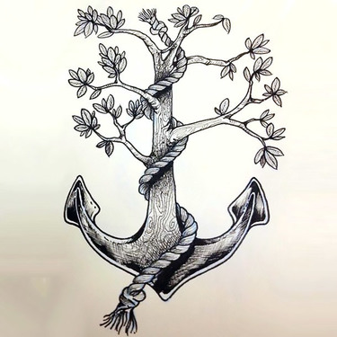 Anchor Tree Tattoo