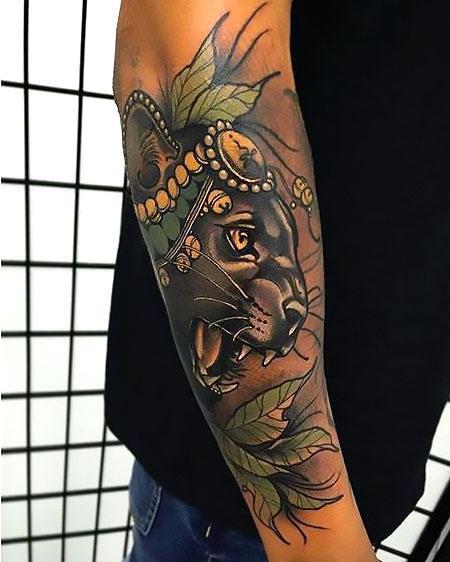 Beatiful Black Leopard Tattoo Idea