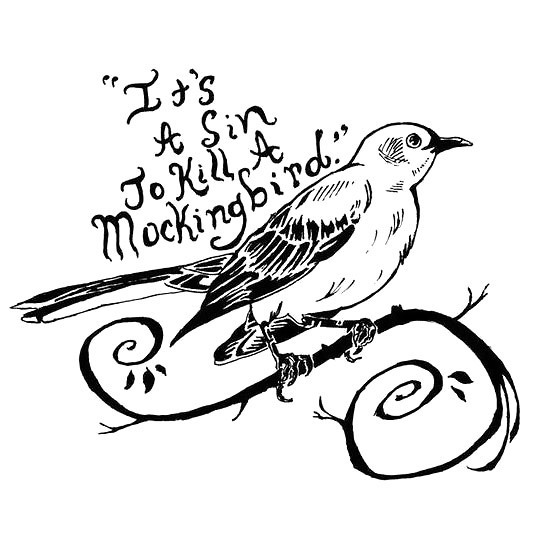 Black It's A Sin To Kill A Mockingbird Tattoo Design