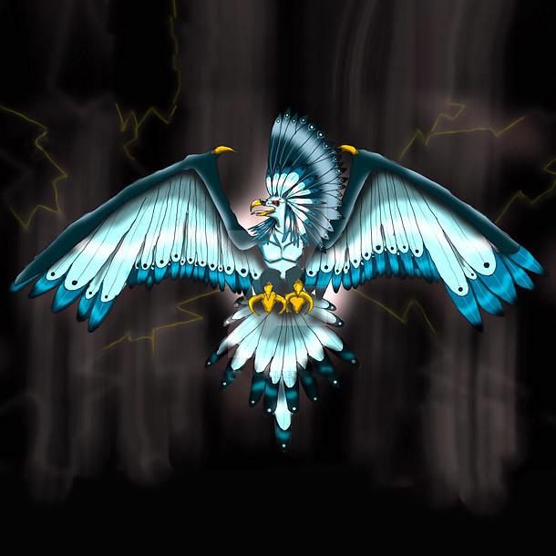 Blue Thunderbird Tattoo Design