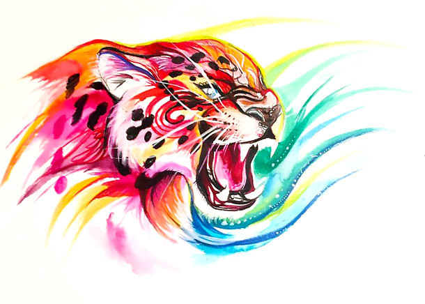 Colorful Jaguar Head Tattoo Design