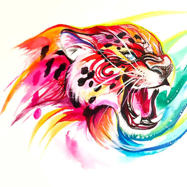 Colorful Jaguar Head Tattoo