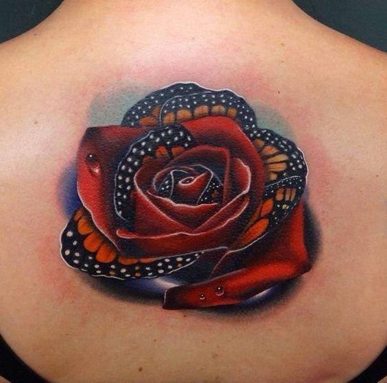 Beautiful Butterfly Rose Tattoo Idea