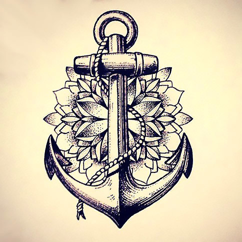 Dotwork Anchor Tattoo Design