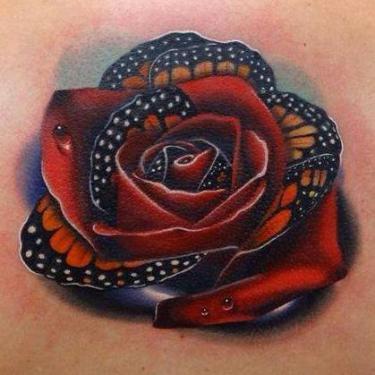 Beautiful Butterfly Rose Tattoo