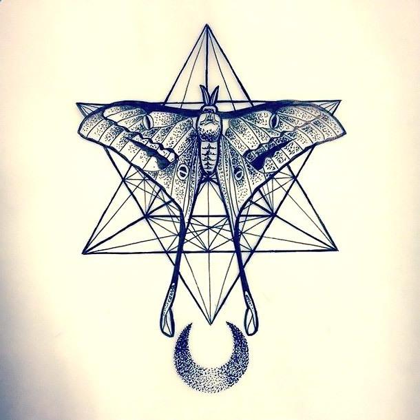 Dotwork Moth Tattoo Design