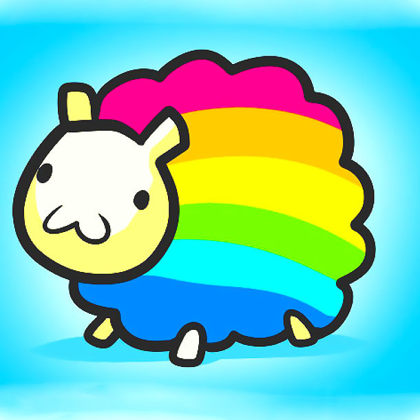 Funny Rainbow Sheep Tattoo Design