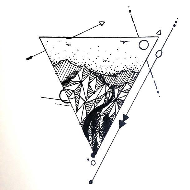 Geometric Triangle Tattoo Design