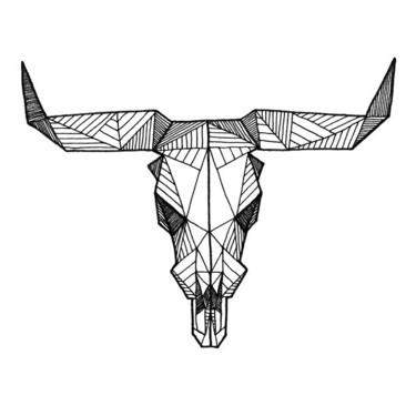 Geomtric Bull Skull Tattoo