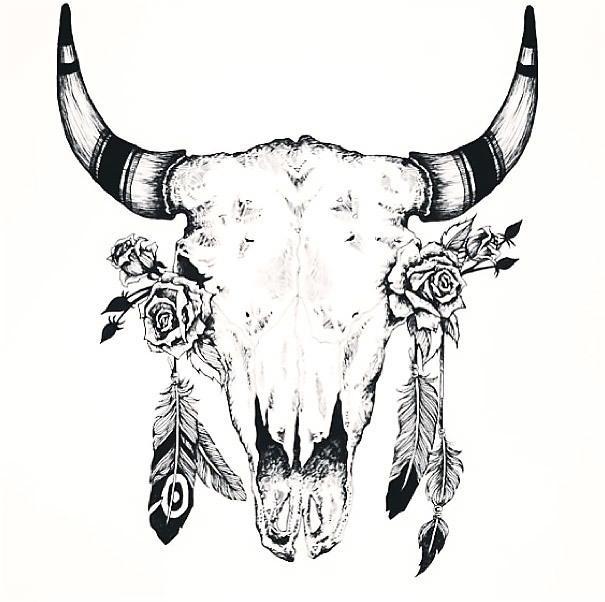 Great Bull Skull Tattoo Design