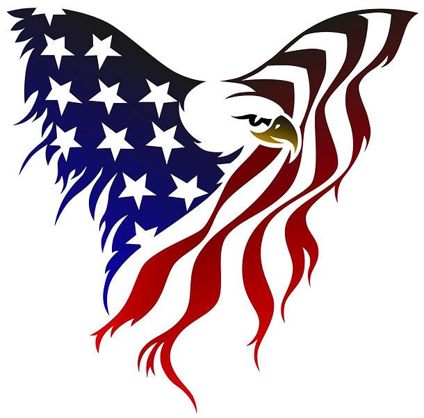 Great Us Flag Eagle Tattoo Design