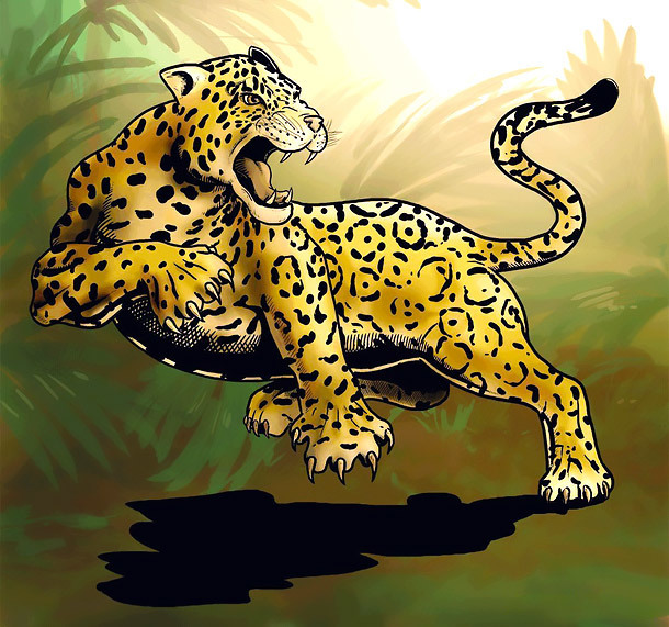 Jumping Jaguar Tattoo Design