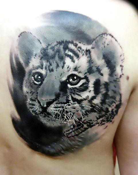 Beautiful Baby Tiger Tattoo Idea