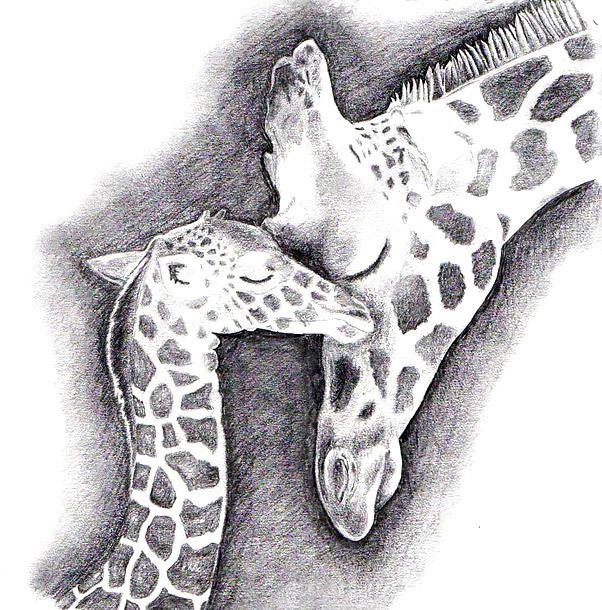 Mother and Daughter Giraffes Tattoo Design