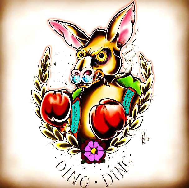 Neo Traditional Kangaroo Tattoo Design