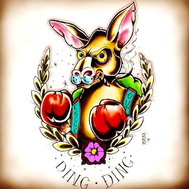 Neo Traditional Kangaroo Tattoo