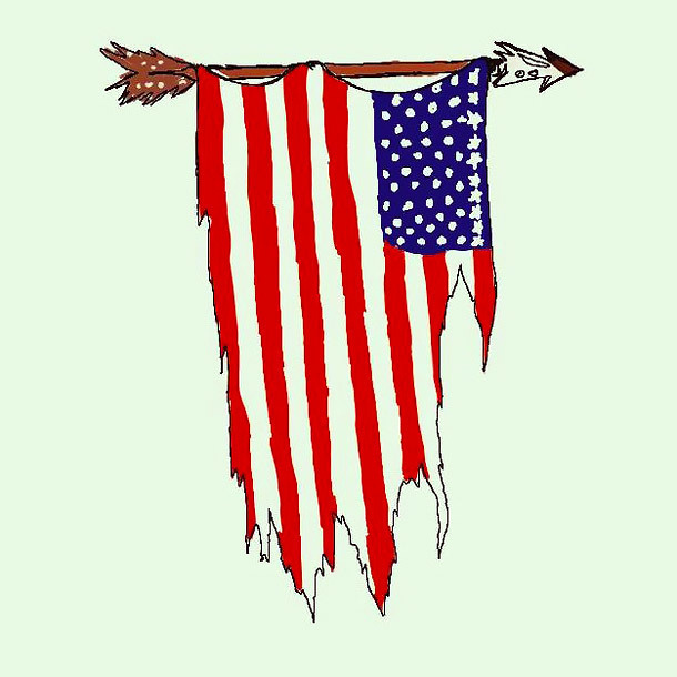 Old Fight Us Flag Tattoo Design