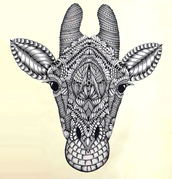 Ornate Giraffe Head Tattoo Design