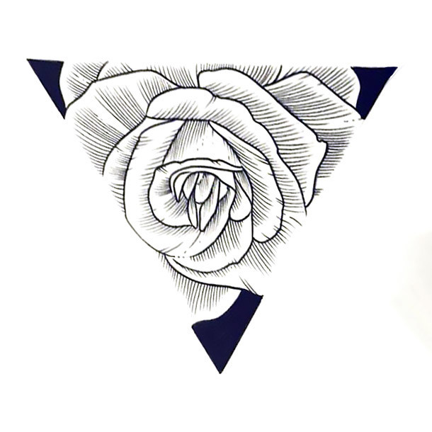 Rose In Triangle Tattoo Design