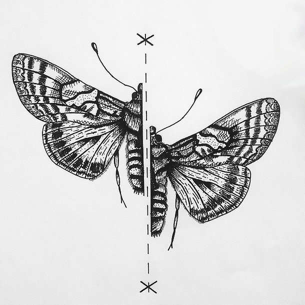 Split Moth Tattoo Design