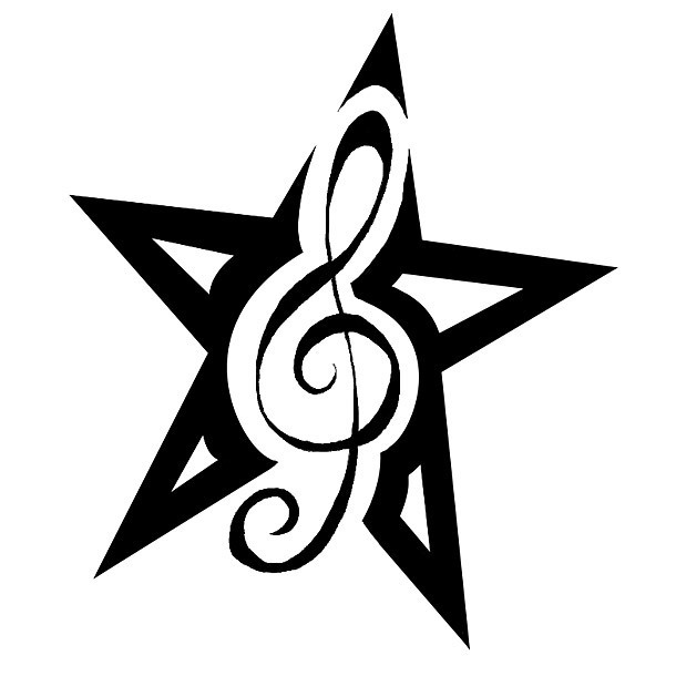 Star Treble Clef First Tattoo Idea for Girls Tattoo Design