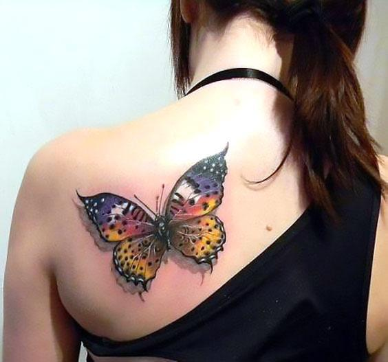 Beautiful Butterfly on Back Tattoo Idea