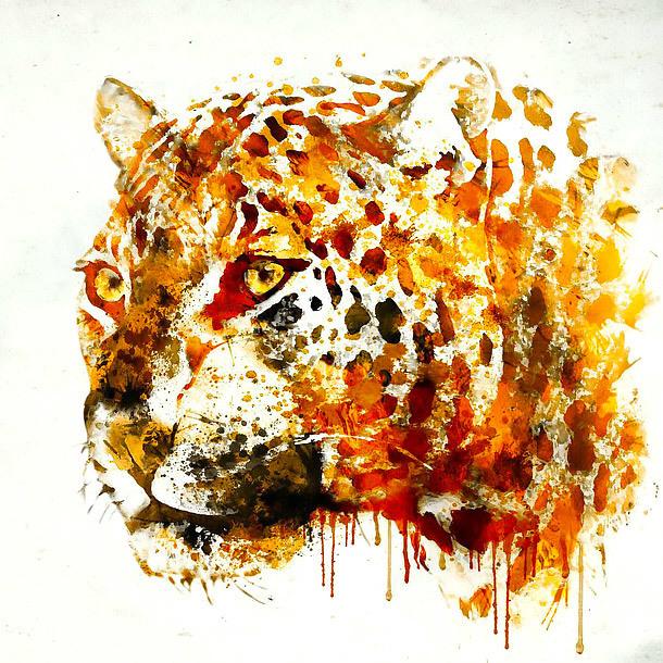 Watercolor Jaguar Tattoo Design