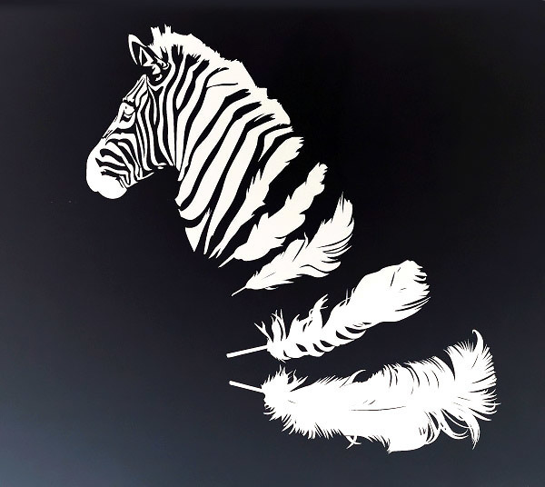 White Ink Zebra Tattoo Design