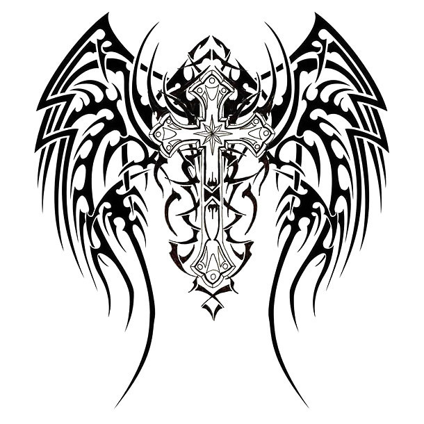 Winged Cross Tattoo Design