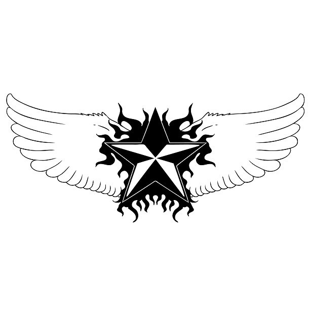 Winged Star Tattoo Design