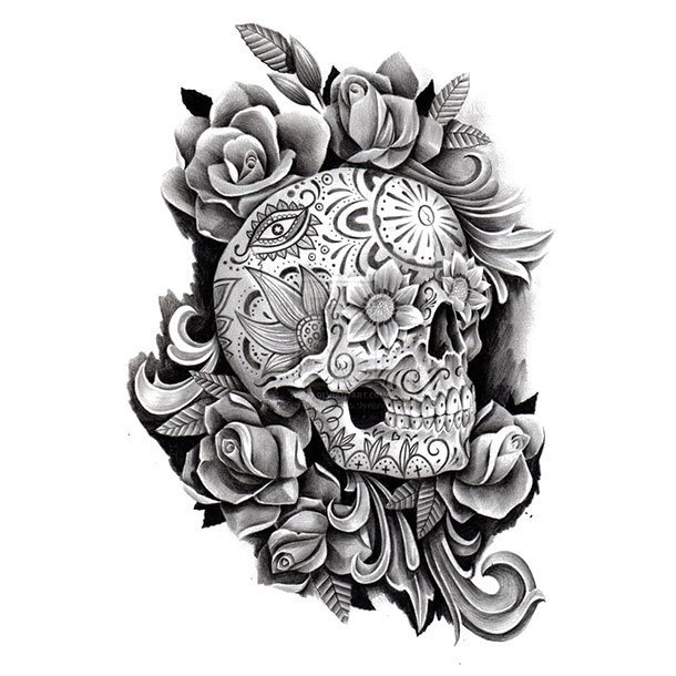 Day of the Dead Sugar Skull Tattoo Design
